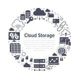 Cartel del círculo del almacenamiento de datos de la nube con los iconos planos del glyph Fondo de la base de datos, información, ilustración del vector