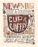 Cartel del café de la acuarela Imagen de archivo libre de regalías