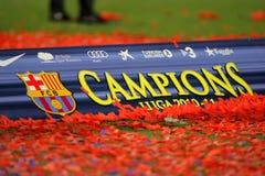 Cartel del campeonato de la liga de FC Barcelona Fotos de archivo libres de regalías