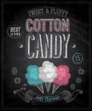 Cartel del caramelo de algodón del vintage - pizarra. Imagen de archivo