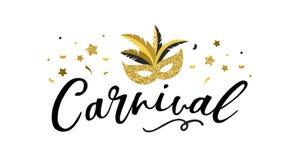 Cartel del carnaval, bandera con los elementos elegantes de oro del partido - la máscara, confeti, protagoniza y salpica stock de ilustración