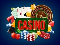 Cartel del casino La publicidad del dominó de juego de los bolos de los dados del póker y otras los juegos del casino vector la p stock de ilustración