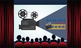 Cartel del cine con la audiencia, la pantalla y las cortinas rojas Foto de archivo