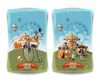 Cartel del circo del vintage, plantilla, aviador, bandera stock de ilustración