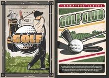 Cartel del club de golf del deporte con los artículos del jugador y del juego libre illustration