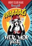 Cartel del club de noche del hip-hop Muchacha urbana bastante joven del rap Imagen de archivo libre de regalías