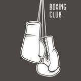 Cartel del club del boxeo con los guantes de boxeo Stock de ilustración