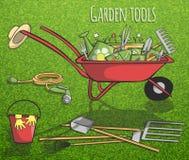 Cartel del concepto de los utensilios de jardinería Foto de archivo