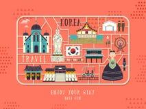 Cartel del concepto del viaje de la Corea del Sur stock de ilustración