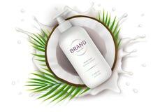 Cartel del concepto para la crema natural orgánica stock de ilustración