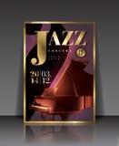 Cartel del concierto del jazz del ejemplo del gráfico de vector con el piano en color marrón Foto de archivo libre de regalías