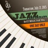 Cartel del concierto del músico de jazz con llaves del piano Vector Imagenes de archivo