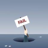 Cartel del control de la mano del negocio del concepto de Fail Bankruptcy Crisis del hombre de negocios del agujero Foto de archivo libre de regalías