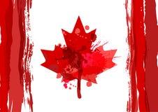 Cartel del día de fiesta con la hoja de arce dibujada mano de Canadá de la acuarela hap stock de ilustración