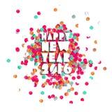 Cartel 2016 del día de fiesta del partido del confeti de la Feliz Año Nuevo Foto de archivo