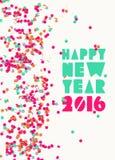 Cartel 2016 del día de fiesta del partido del confeti de la Feliz Año Nuevo stock de ilustración