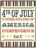 Cartel del Día de la Independencia Imagenes de archivo