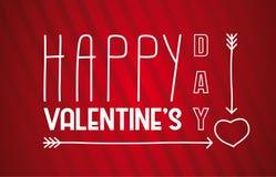 Cartel del día de la tarjeta del día de San Valentín s Mano dibujada poniendo letras al ejemplo del vector Imágenes de archivo libres de regalías