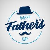 Cartel del día de padres con el sombrero y el bigote en diseño azul