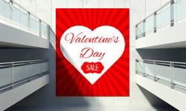 Cartel del día de tarjeta del día de San Valentín en la pared en interior de la tienda Foto de archivo