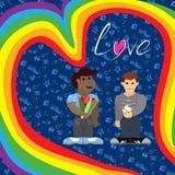 Cartel del día de tarjeta del día de San Valentín con los hombres en el amor brillante stock de ilustración