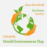 Cartel del día del ambiente mundial Imagen de archivo libre de regalías