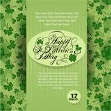 Cartel del día del ` s de St Patrick Fotografía de archivo libre de regalías
