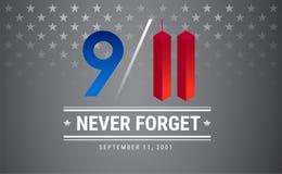 Cartel del día del patriota 11 de septiembre 9 / Conmemoración DA de 11 monumentos Ilustración del Vector