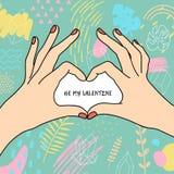 Cartel del día del ` s de la tarjeta del día de San Valentín stock de ilustración