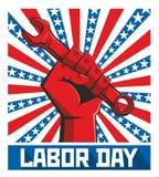 Cartel del Día del Trabajo retro ilustración del vector