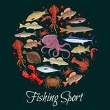 Cartel del deporte de la pesca con el círculo de los mariscos, pescado ilustración del vector