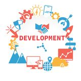 Cartel del desarrollo con los iconos fijados ilustración del vector