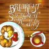 Cartel del desayuno Ilustración del vector Foto de archivo
