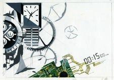 Cartel del dibujo en el tema de relojes mecánicos ilustración del vector