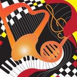 Cartel del diseño con los instrumentos musicales y el ajedrez ilustración del vector