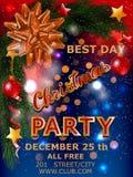 Cartel del diseño de la fiesta de Navidad con el árbol y arco en noche Ilustración del vector fotografía de archivo