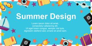 Cartel del diseño del verano con los elementos del verano en fondo azul Fondo para diversos diseños: tarjeta, cartel, ventas, not ilustración del vector