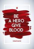 Cartel del donante de la información de la motivación del donante de sangre Donación de sangre Bandera del día del donante de san Fotos de archivo libres de regalías