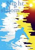 Cartel del eslalom de la noche Fotografía de archivo