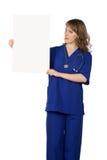 Cartel del espacio en blanco del doctor de la mujer Imágenes de archivo libres de regalías