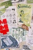 cartel del estilo de los años 50 y montajes del arte de la etiqueta engomada Fotografía de archivo