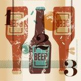 Cartel del estilo del grunge del vintage con las botellas de una cerveza Ilustración retra del vector Imagen de archivo libre de regalías