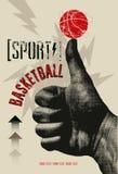 Cartel del estilo del grunge del vintage del baloncesto Ilustración retra del vector Fotos de archivo