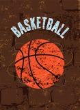 Cartel del estilo del grunge del vintage del baloncesto Ilustración retra del vector Fotografía de archivo