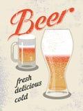 Cartel del estilo del vintage Cartel retro de la cerveza del vector Fotos de archivo