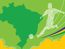 Cartel del fútbol Color de la bandera del Brasil Foto de archivo