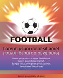 Cartel del fútbol con una bola ardiente y lugar para su texto Imagen de archivo libre de regalías