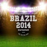 Cartel 2014 del fútbol del Brasil. Desig de la tipografía del fondo del estadio Imagenes de archivo
