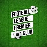 Cartel del fútbol del fútbol Fondo del campo de fútbol del fútbol con tan Imagen de archivo