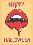Cartel del feliz Halloween con los labios y los colmillos de fusión Fotos de archivo